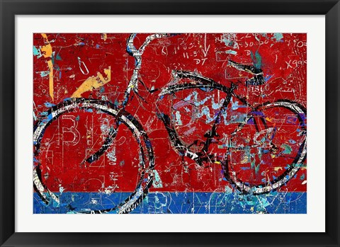 Framed Red Graffiti Bike Print