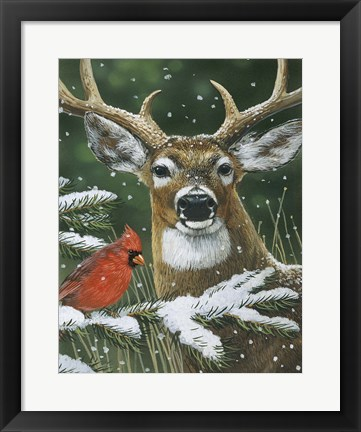 Framed Deer With Cardinal Print