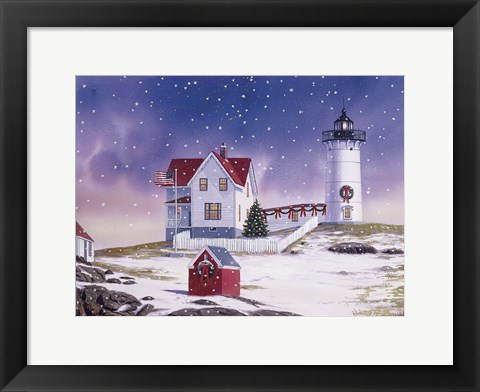 Framed Winter Lighthouse 2 Print