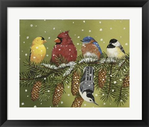 Framed Snowy Feathered Friends Print