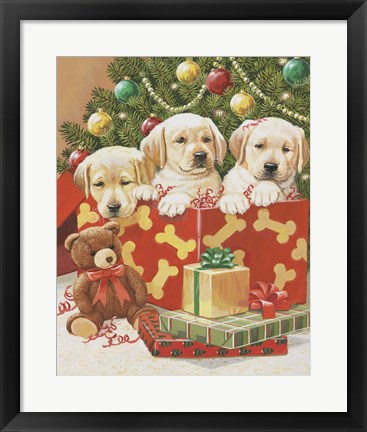 Framed Holiday Puppies Print