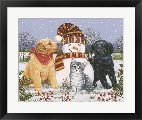 Framed Snowboy with Little Friends Print