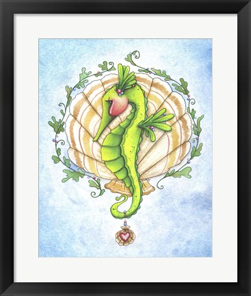 Framed Seahorse and Shells Print