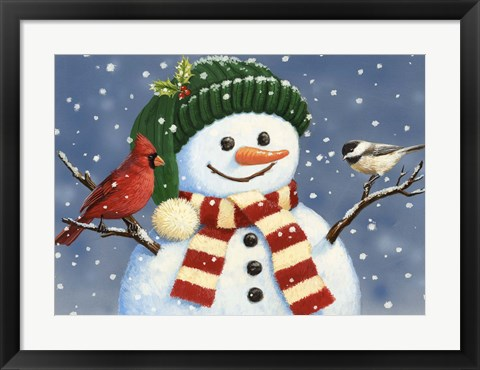 Framed Snowman With Cardinal And Chickadee Print