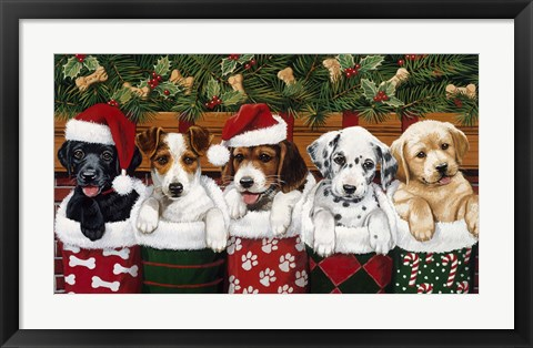 Framed Christmas Puppies Print