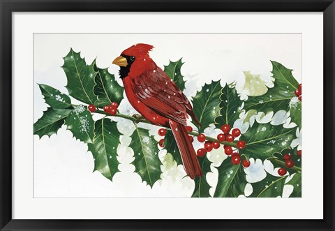 Framed Cardinals & Holly Print