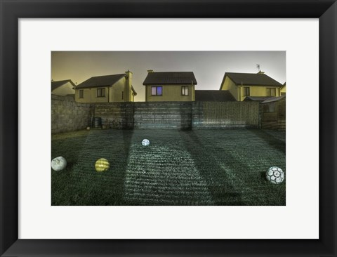 Framed Five Footballs Print