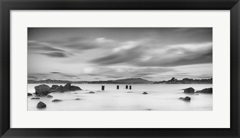 Framed Four Pilings and Mount Tam Print