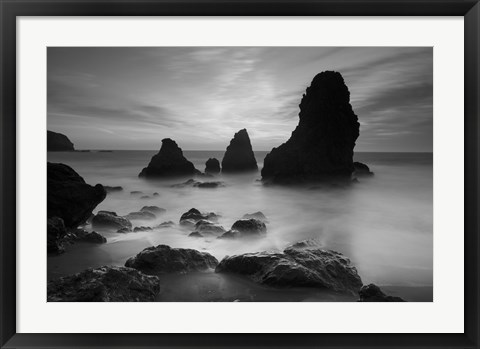 Framed Rodeo Beach I, Black and White Print