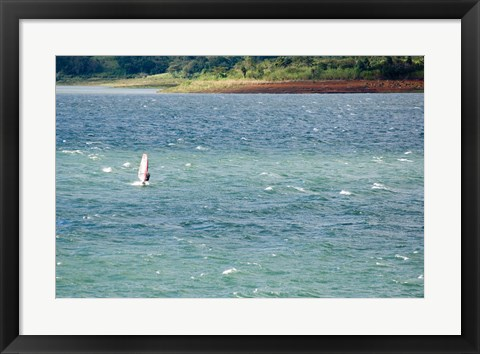 Framed Wind surfer in a lake, Arenal Lake, Guanacaste, Costa Rica Print