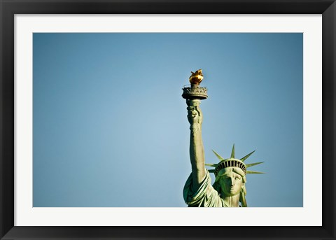 Framed Low angle view of the Statue Of Liberty, Liberty Island, New York City, New York State, USA Print
