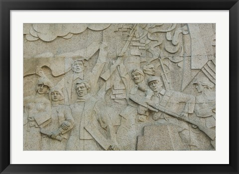 Framed Revolutionary frieze in Huangpu Park by Huangpu River, The Bund, Shanghai, China Print
