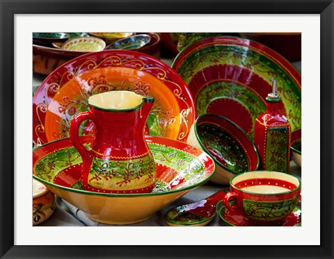 Framed Pottery for sale at a market stall, Lourmarin, Vaucluse, Provence-Alpes-Cote d'Azur, France Print