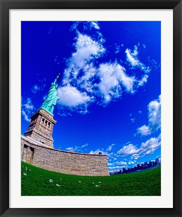 Framed Low angle view of a statue, Statue Of Liberty, Manhattan, Liberty Island, New York City, New York State, USA Print
