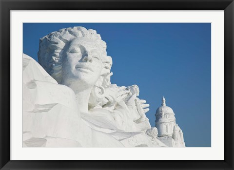 Framed French themed Snow Sculpture by frozen Sun Island Lake, Harbin, China Print
