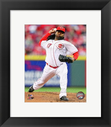 Framed Johnny Cueto Pitching Baseball Print