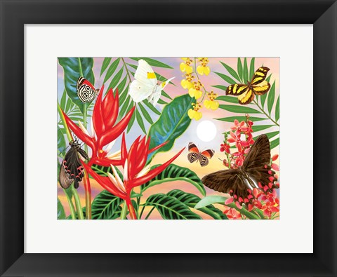 Framed Butterflies and Red Christmas Heliconia Print