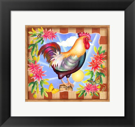 Framed Morning Glory Rooster IV Print
