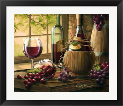 Framed Wine By The Window I Print