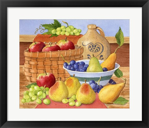 Framed Apples, Grapes & Pears Print