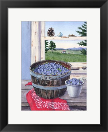 Framed Blueberries And Red Bandana Print
