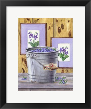 Framed Blueberries And Violets Print