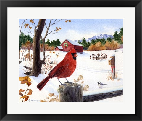 Framed Cardinal Mornings Print