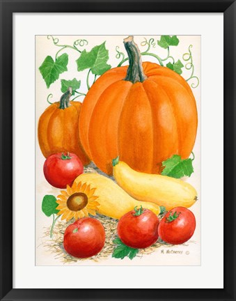 Framed Pumpkins, Tomatoes and Squash Print