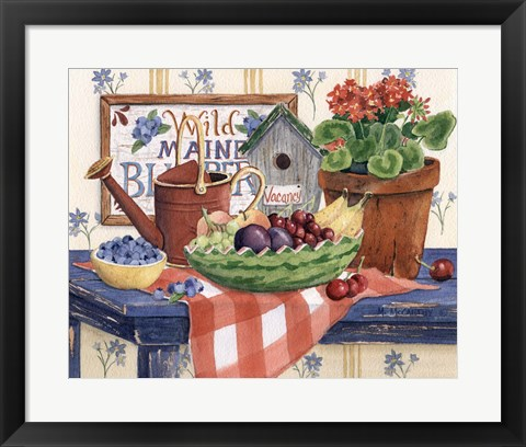 Framed Watermelon Fruit Bowl Print