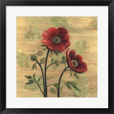Framed Anemone on Wood Print