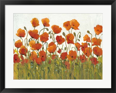 Framed Rows of Poppies I Print