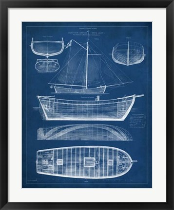 Framed Antique Ship Blueprint II Print
