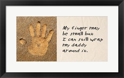 Framed My Finger May Be Small Sand Handprint Print