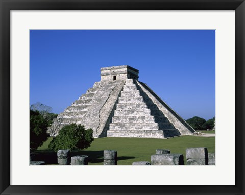 Framed Old ruins of a pyramid,  Chichen Itza Mayan Print