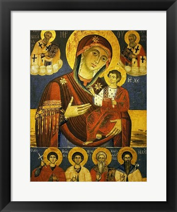 Framed God's Mother Showing the Way with Chosen Saints Print