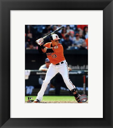 Framed Manny Machado in action 2014 Print