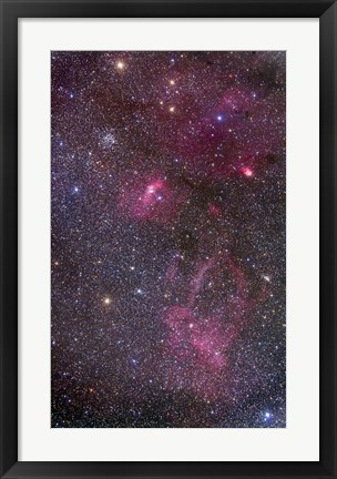 Framed Nebulosity around the open cluster Messier 52, including the Bubble Nebula Print