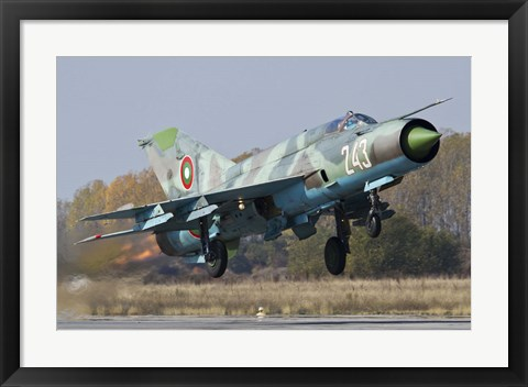 Framed Bulgarian Air Force MiG-21bis jet fighter taking off Print