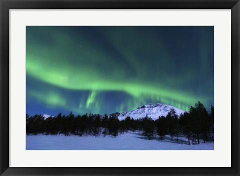 Framed Aurora Borealis over Nova Mountain Wilderness, Norway Print