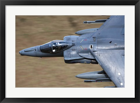 Framed Front section of a Royal Air Force Harrier GR9 flying low over North Wales Print