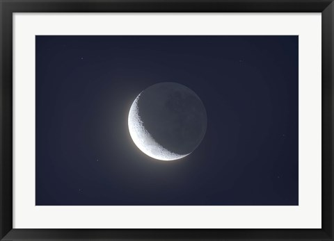 Framed Waxing crescent moon with Earthshine Print