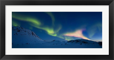 Framed Panoramic view of the Aurora Borealis over Skittendalen Valley, Troms County, Norway Print