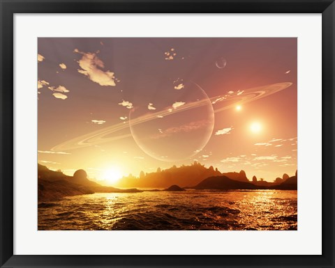Framed scene on a distant moon orbiting a gas giant in a trinary star system Print