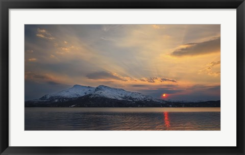 Framed Midnight Sun over Tjeldsundet strait in Troms County, Norway Print