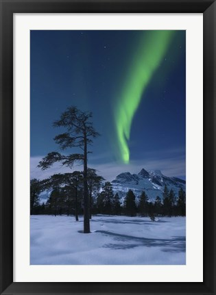 Framed Moonlight and aurora over Nova Mountain Wilderness, Norway Print