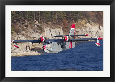 Framed Canadair CL-215-1A10 in flight over Bulgaria Print