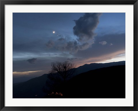 Framed Moon and Venus conjunction above the village of Gazorkhan, Iran Print