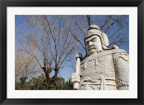 Framed Carved warrior statues, Changling Sacred Was, Beijing, China Print