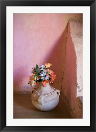 Framed Flowers and Room Detail in Dessert House (Chez Julia), Merzouga, Tafilalt, Morocco Print