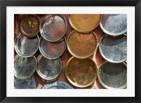Framed Brass plates for sale in the Souk, Marrakech (Marrakesh), Morocco, North Africa Print